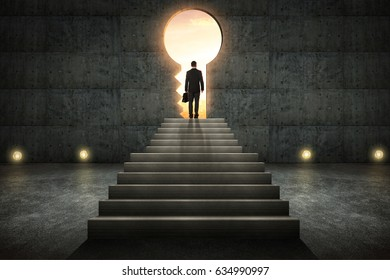 Hesitant businessman stand on stair against conrete wall with key hole door ,sunrise scene city skyline outdoor view .