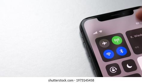 Hessen Germany - May 12,2021: Wifi icon mobile data icon on smartphone