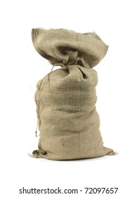 A hessian bag isolated against a white background