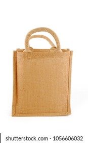 hessian bag shopping bag isolated on white