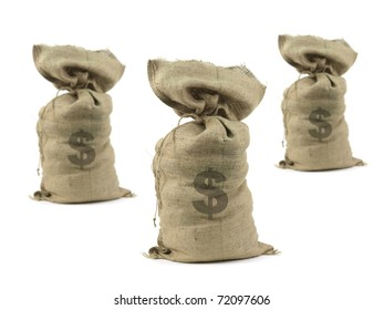 Hessian bags with cash isolated against a white background