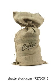 A hessian coffee bag isolated against a white background