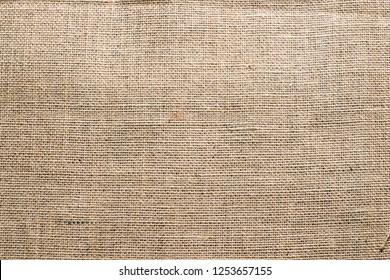 Hessian sackcloth burlap woven texture background  / cotton woven fabric background with flecks of varying colors of beige and brown. with copy space. office desk concept.