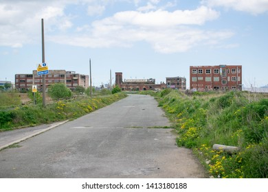 Hessle, Kingston Upon Hull, Britain - 12th May 2019: The Lord Line buildings, old dock offices on the river Humber at St Andrews Quay retail park. Derelict old unused building due for development