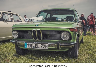Hetzlinshofen, Germany - May 27, 2018: 1972 BMW 2002 A2S (Alpina) at the 6. Hetla-Klausa oldtimer car and tractor meeting.