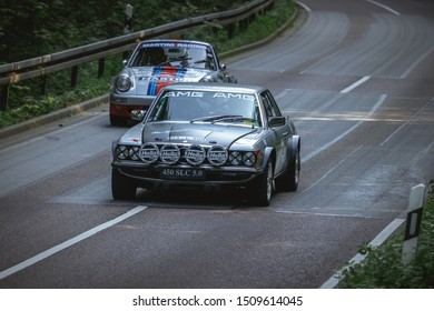 Heubach, Germany - September 15, 2019: 1979 Mercedes 450SLC 5.0 and 1977 Porsche 911 german oldtimer sports cars at the Bergrevival Heubach 2019 event.