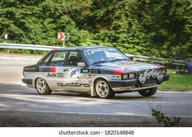 Heubach, Germany - September 20, 2020: 1984 Audi 90 Quattro Rallye german oldtimer race sports car at the 8. Bergrevival Heubach 2020 event.