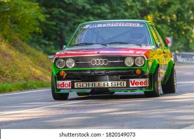 Heubach, Germany - September 20, 2020: Audi 80 Group 2 oldtimer rally race car at the 8. Bergrevival Heubach 2020 event.
