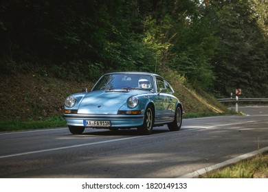 Heubach, Germany - September 20, 2020: 1973 Porsche 911 T german oldtimer luxury sports car at the 8. Bergrevival Heubach 2020 event.