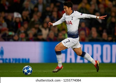 Heung-Min Son of Tottenham during the match between FC Barcelona and Tottenham Hotspurs at Camp Nou Stadium in Barcelona, Spain on December 11, 2018.