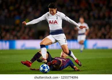 Heung-Min Son of Tottenham and Thomas Vermaelen of Barcelona during the match between FC Barcelona and Tottenham Hotspurs at Camp Nou Stadium in Barcelona, Spain on December 11, 2018.