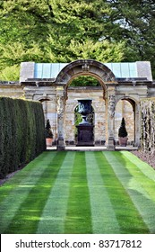 Hever Castle gardens on a sunny summer day