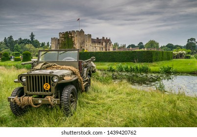 Hever's Castle with a USA Army World War 2 Jeep. This was part of the Hever's Home Front 1940s event . Hever, Kent England image taken 23rd June 2019
