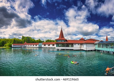 HEVIZ, HUNGARY - 13 AUGUST, 2016: Lake Heviz in Hungary on 13 August, 2016. Lake Heviz is the worldâ??s second-largest thermal lake, but biologically the biggest active natural lake