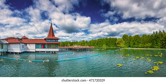 HEVIZ, HUNGARY - 13 AUGUST, 2016: Lake Heviz in Hungary on 13 August, 2016. Lake Heviz is the second-largest thermal lake of the world, but biologically the biggest active natural lake