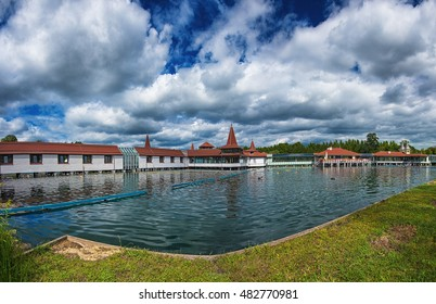 HEVIZ, HUNGARY - 13 AUGUST, 2016: Lake Heviz in Hungary on 13 August, 2016. Lake Heviz is the second-largest thermal lake of the world, but biologically the biggest active natural lake.