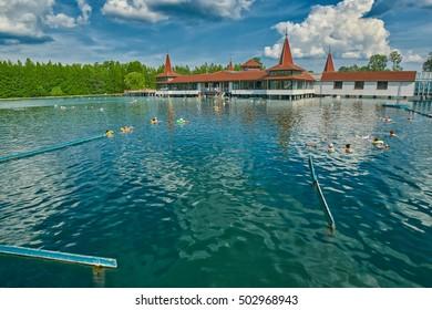 HEVIZ, HUNGARY - 15 August 2016: Heviz Thermal Lake Pools Resort with Hot Water in Hungary