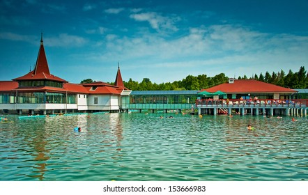 HEVIZ, HUNGARY - 23 AUGUST, 2013: Lake Heviz in Hungary. It is the second largest thermal lake in the world. The lake is believed to be completely replenished each day.