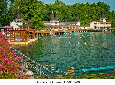 HEVIZ, HUNGARY - 23 AUGUST, 2013: The famous Heviz thermal lake in Hungary on 23 August, 2013. Lake Heviz is the second largest thermal lake in the world.