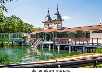 HEVIZ, HUNGARY - AUGUST 21, 2016: The central health complex on the lake in the town of Heviz