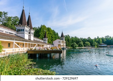 HEVIZ, HUNGARY - AUGUST 24, 2017: The Heviz Spa and bathers in Hungary. Lake Heviz is the 2nd largest natural thermal lake in the world.