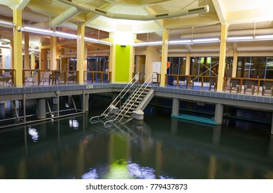 Heviz, Hungary - December 18, 2017: Inner pool in Heviz Spa health complex. Lake Heviz is the 2nd largest natural thermal lake in the world.