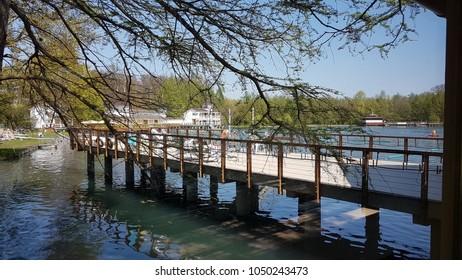 Heviz. Hungary. Europe. Thermal lake Heviz. Spring.