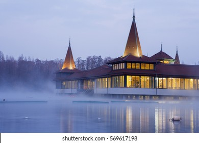 Heviz, Hungary - January 26, 2017: Heviz spa at night. Lake Heviz is the 2nd largest natural thermal lake in the world.