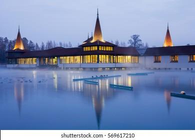 Heviz, Hungary - January 26, 2017: Heviz spa at night in Hungary