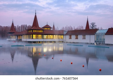 Heviz, Hungary - January 26, 2017: Heviz Spa. Lake Heviz is the 2nd largest natural thermal lake in the world.