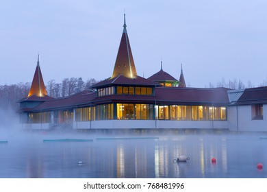 Heviz, Hungary - January 26, 2017: The Lake Heviz which is the 2nd largest natural thermal lake in the world.