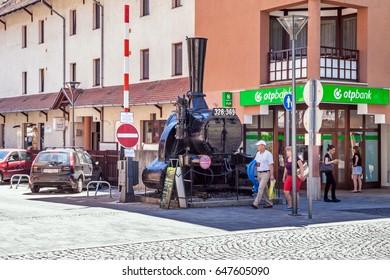 Heviz, Hungary - june 12, 2016: Old train in the Heviz street
