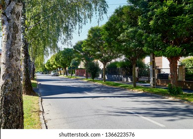 Heviz, Hungary - September 27, 2018: Street in the old part of the city Heviz near lake Heviz in Hungary in a sunny day