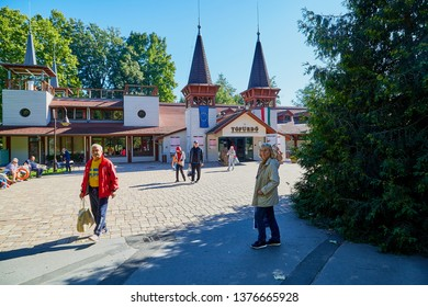 Heviz, Hungary - September 27, 2018: Entrance form the park to the Lake Heviz in Hungary with hot water