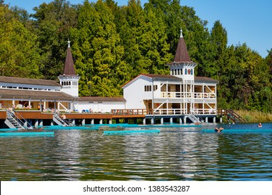 Heviz, Hungary - September 27, 2018: Beautirul house Balneological therapeutic lake Heviz in Hungary with warm water during all time of a year