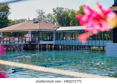 Heviz, Hungary - September 27, 2018: Balneological therapeutic lake Heviz in Hungary with warm water during all time of a year