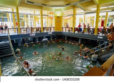 Heviz, Hungary - September 27, 2018: Pool in in the house in therapeutic lake Heviz in Hungary having hot water during all time of a year