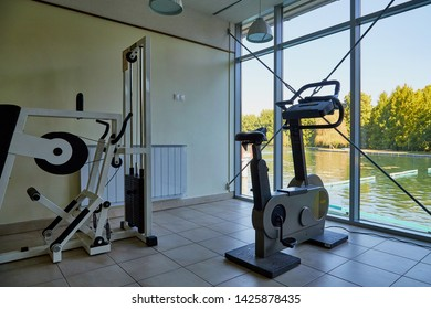 Heviz, Hungary - September 27, 2018: Gym with exercise machines on balneological therapeutic lake Heviz in Hungary with warm water during all time of a year