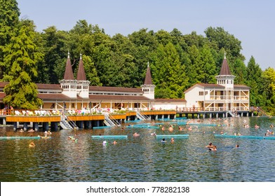 Heviz, Hungary - September 4, 2011: Bathers enjoy an unrivaled experience in the world's largest natural thermal lake