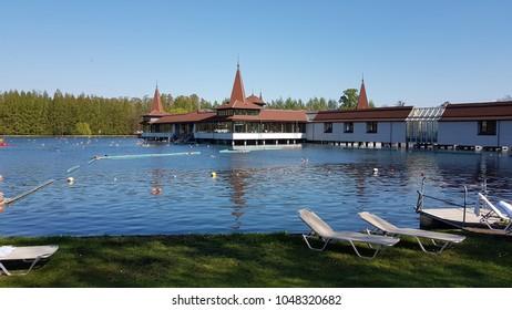 Heviz. Hungary. Thermal lake Heviz. Spring.