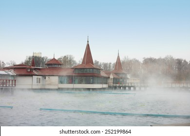 Heviz lake in Hungary at winter - The 2nd largest natural thermal lake in the world