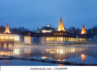 Heviz spa in Hungary at night. Lake Heviz is the 2nd largest natural thermal lake in the world.
