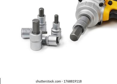 hex bit socket set and Mid-Range Cordless Impact Wrench on white background .