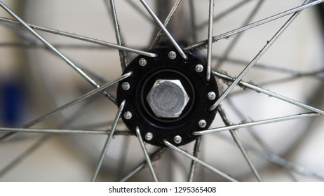 Hexa screw as a center of the wheel of wheelchair connected all steel strings each other.