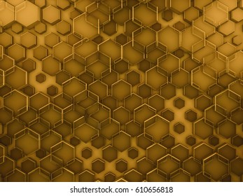 Hexagon abstract glass gold background. 3D rendering