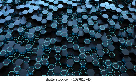 Hexagon background, 3d illustration