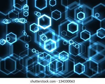 Hexagon Bubbles on dark background