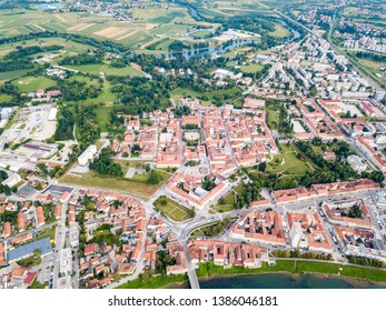 Hexagon of Karlovac city center, inside six-pointed star-shaped Renaissance fortress built against Ottomans, Croatia. Regular orthogonal planning and logical street layout of ideal town.