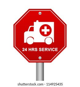 Hexagon Red Traffic Sign For Ambulance Car 24 HRS Service Isolated on White Background