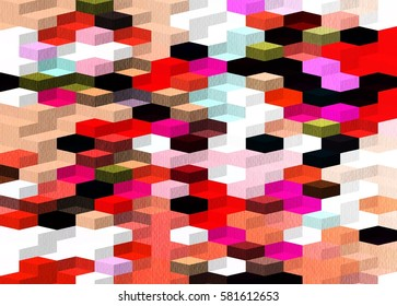 Hexagon shaped bricks pattern